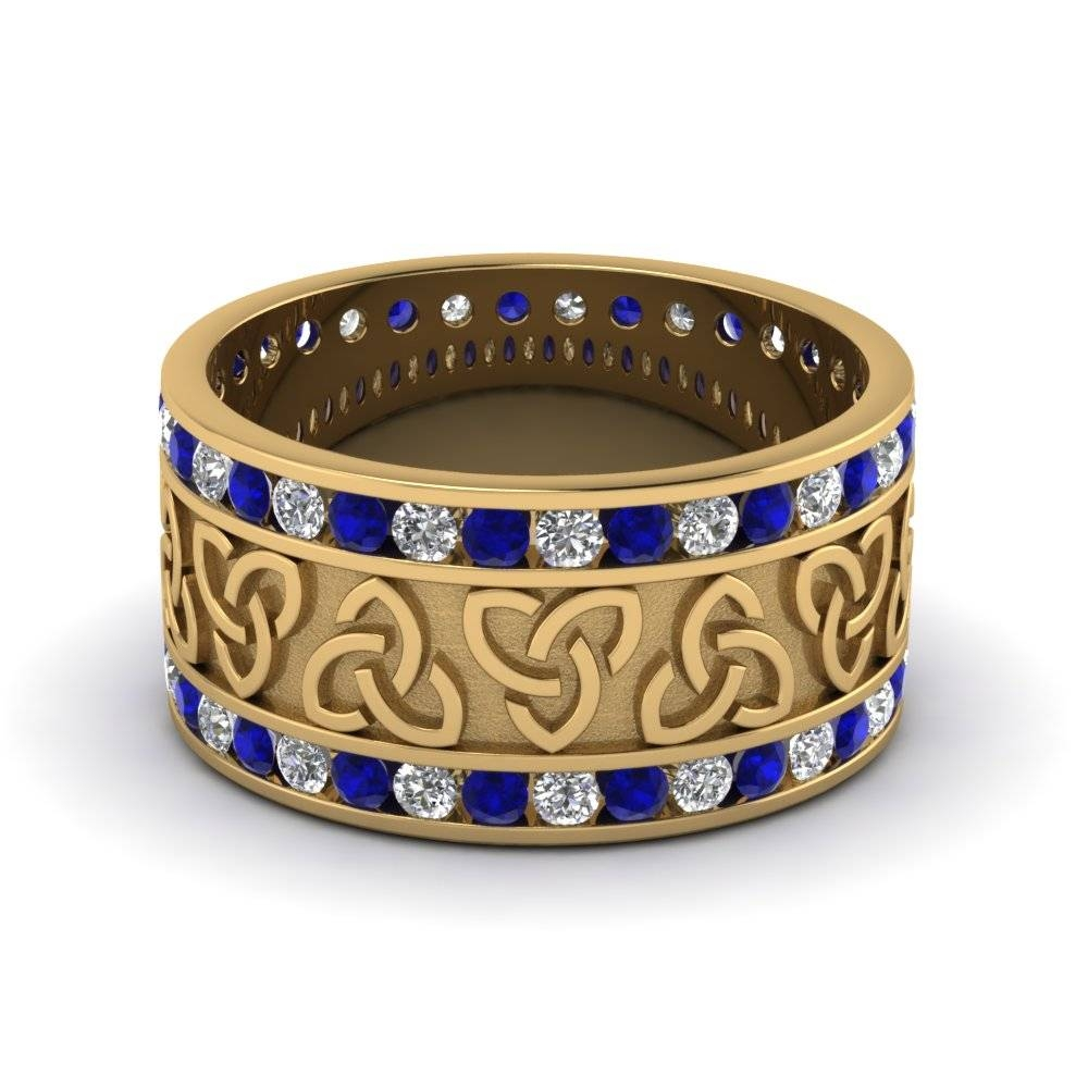 Yellow Gold Round White Diamond Mens Wedding Band With Blue Inside Men's Wedding Bands With Sapphires (View 15 of 15)