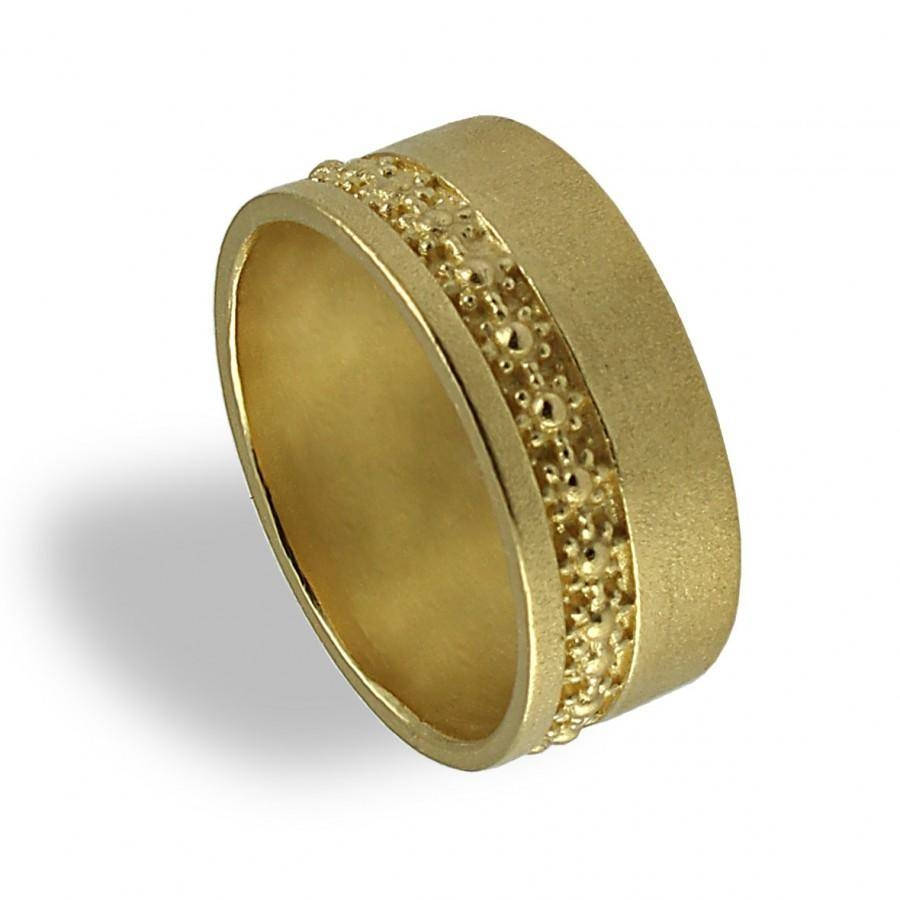 Yellow Gold Wedding Ring , Floral Wedding Band , Wide Wedding Band Inside Wide Wedding Rings (View 15 of 15)