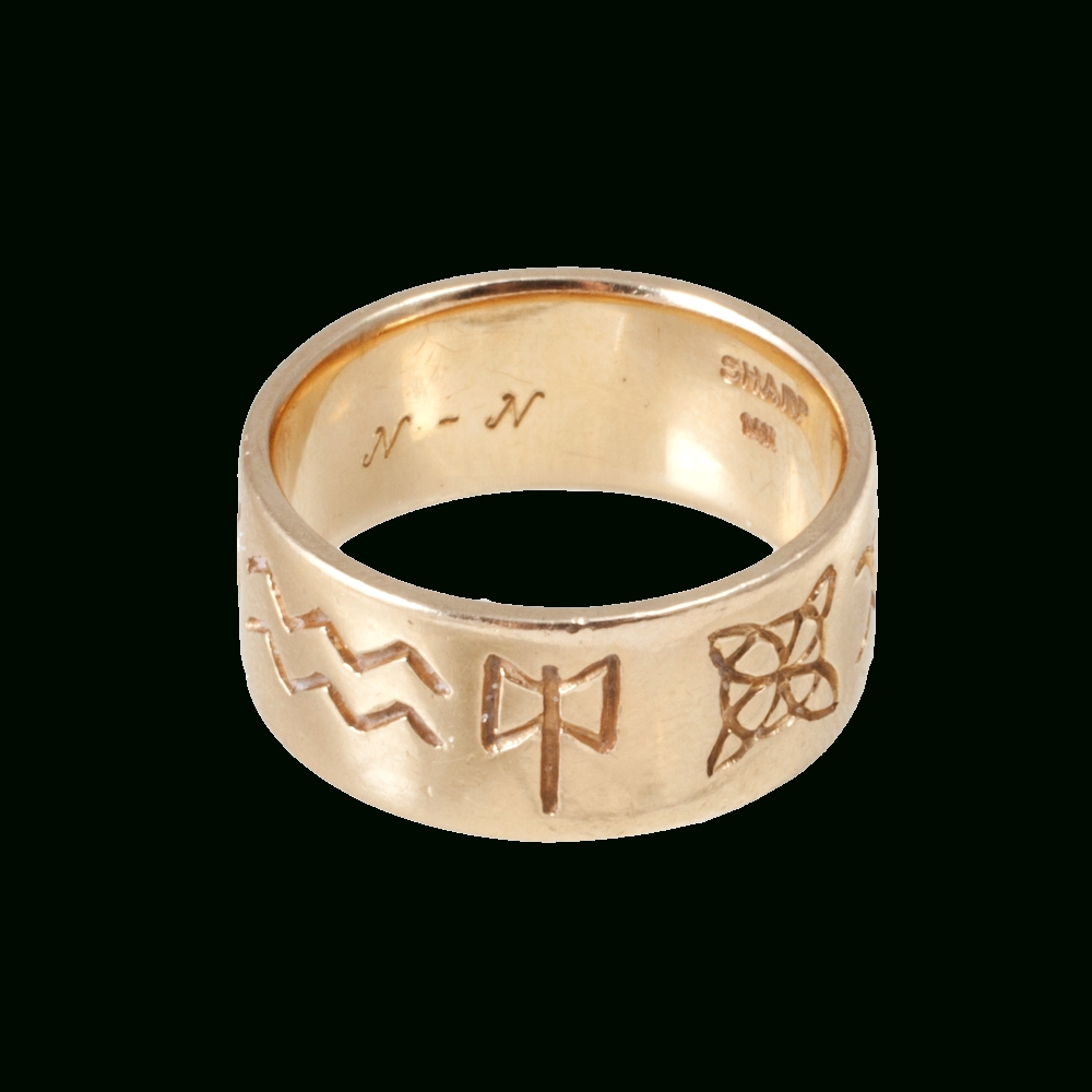 Yellow Gold Wiccan Marking Ring Bandlove Adorned Vintage At Intended For Wiccan Engagement Rings (View 15 of 15)