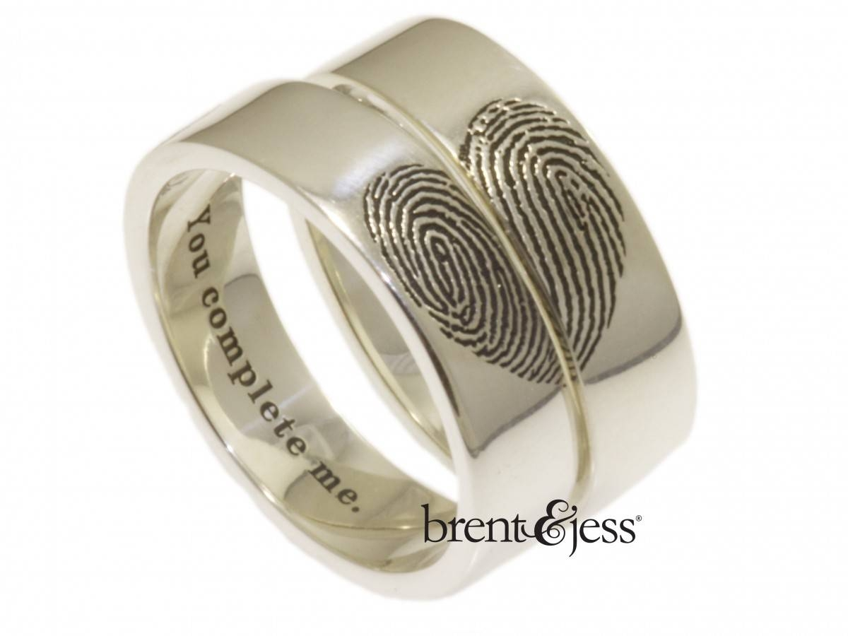 You Complete Me Fingerprints In Shape Of Heart – Set Of Wide Throughout Wedding Rings With Fingerprint (View 15 of 15)