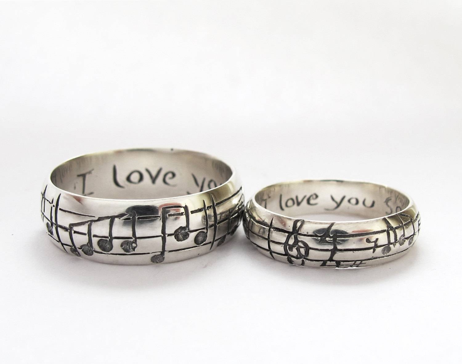 Your Song Wedding Rings Any Song One Of A Kind Sterling Within Music Wedding Rings (View 3 of 15)