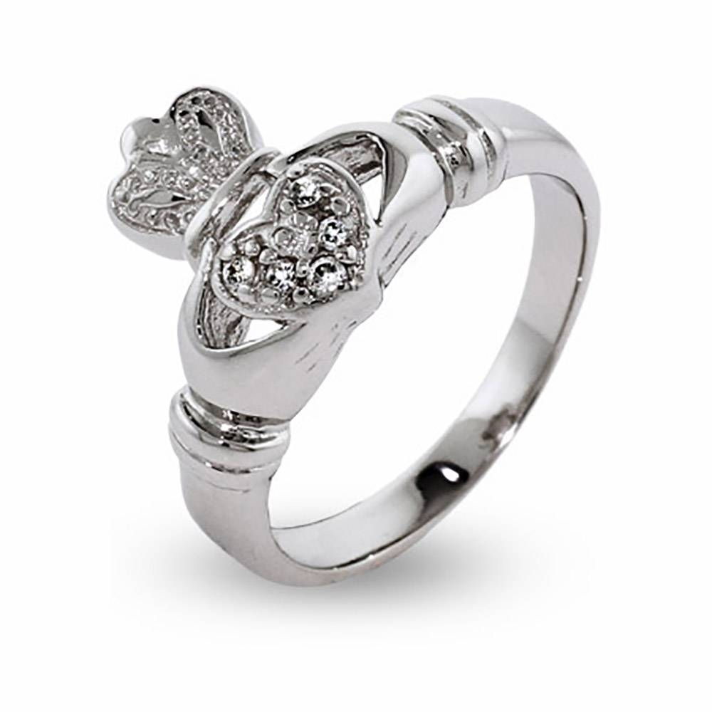 Zirconia Sterling Silver Irish Claddagh Ring | Eve's Addiction® With Regard To Irish Claddagh Engagement Rings (View 8 of 15)