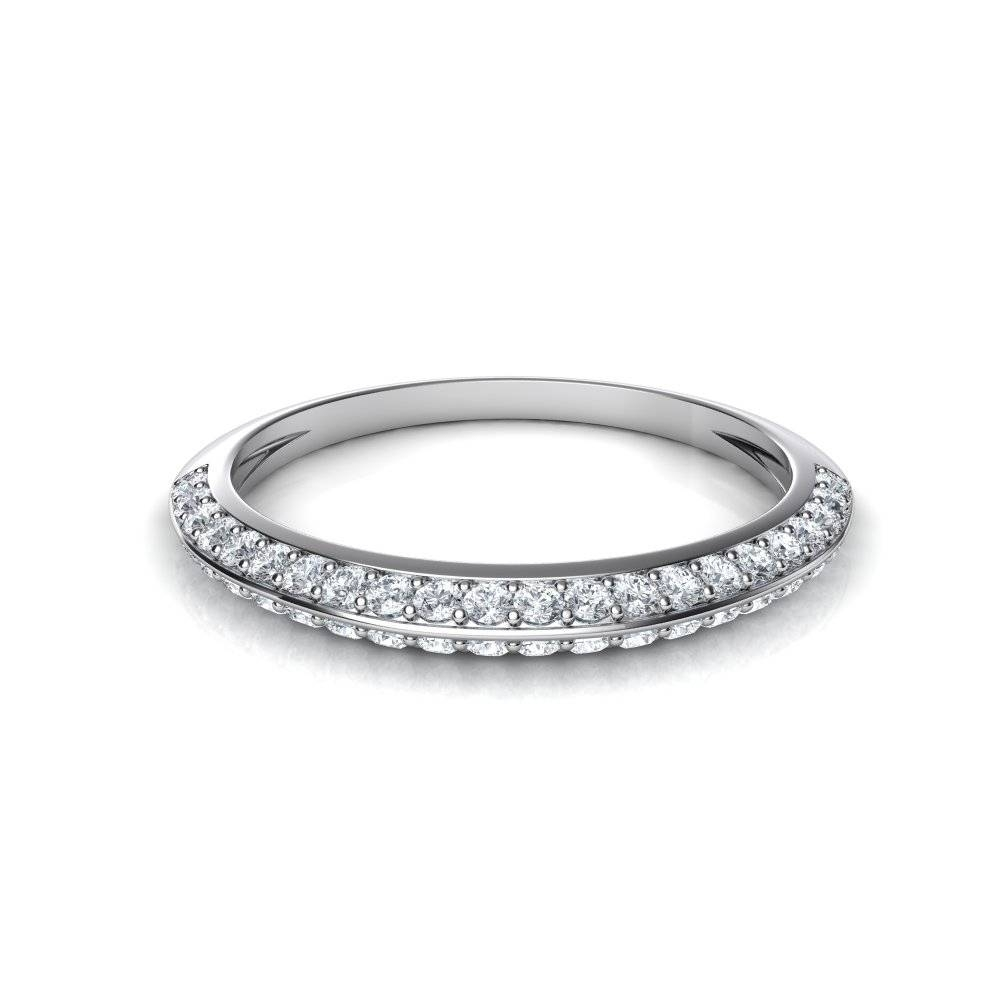 0.45 Ct. Two Row Knife Edge Pavé Diamond Wedding Band Within Most Recently Released Pave Set Diamond Wedding Bands (Gallery 3 of 15)