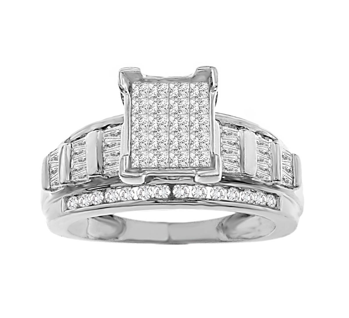 1.00 Tcw Women's Diamond Engagement Ring Set In 10K White Gold Pertaining To Diamonds Engagement Rings (Gallery 1 of 15)