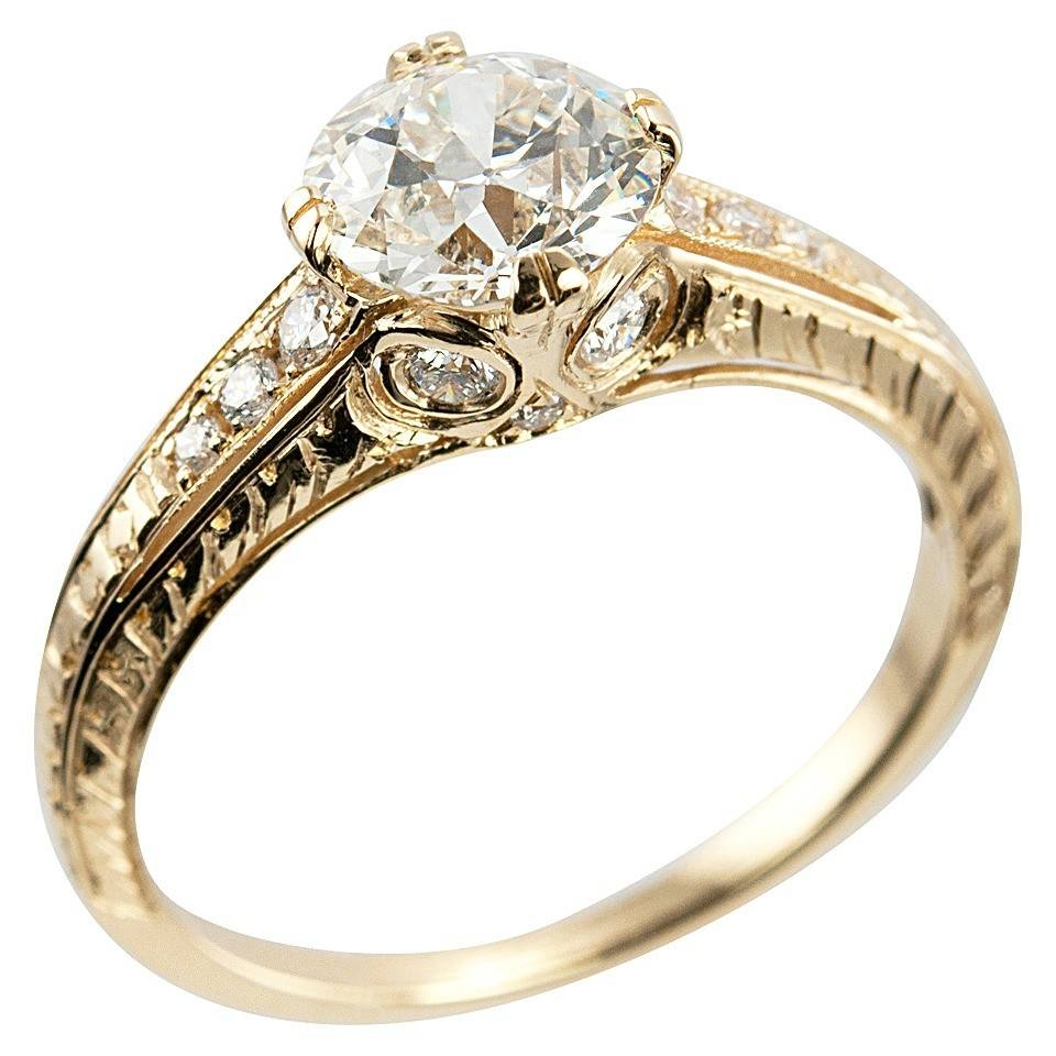 1.05 Carat Diamond And 18K Yellow Gold Vintage Inspired Engagement With Regard To Vintage Yellow Gold Wedding Rings (Gallery 6 of 15)
