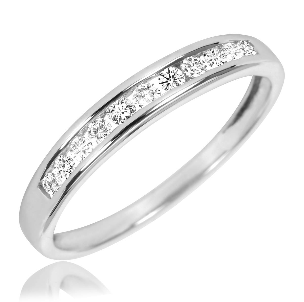 1 1/2 Ct. T.w. Diamond Trio Matching Wedding Ring Set 10K White Gold Inside Most Recently Released Mens 5 Diamond Wedding Bands (Gallery 11 of 15)