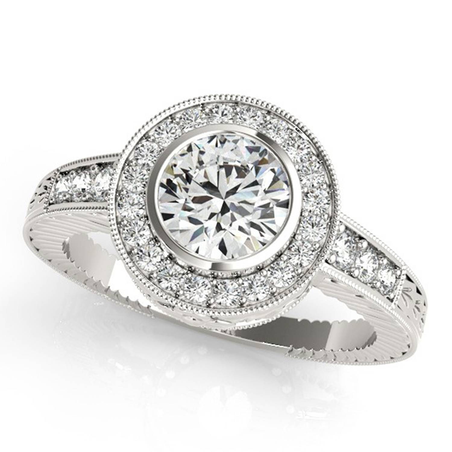 1/2 Carat Bold Design Halo Bezel Set Rebecca Style Diamond With Halo Style Diamond Engagement Rings (View 2 of 15)