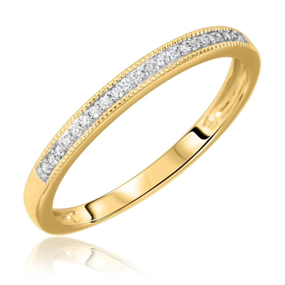 1/2 Carat T.w. Round Cut Diamond Matching Trio Wedding Ring Set With Current Yellow Gold Channel Set Wedding Bands (Gallery 5 of 15)