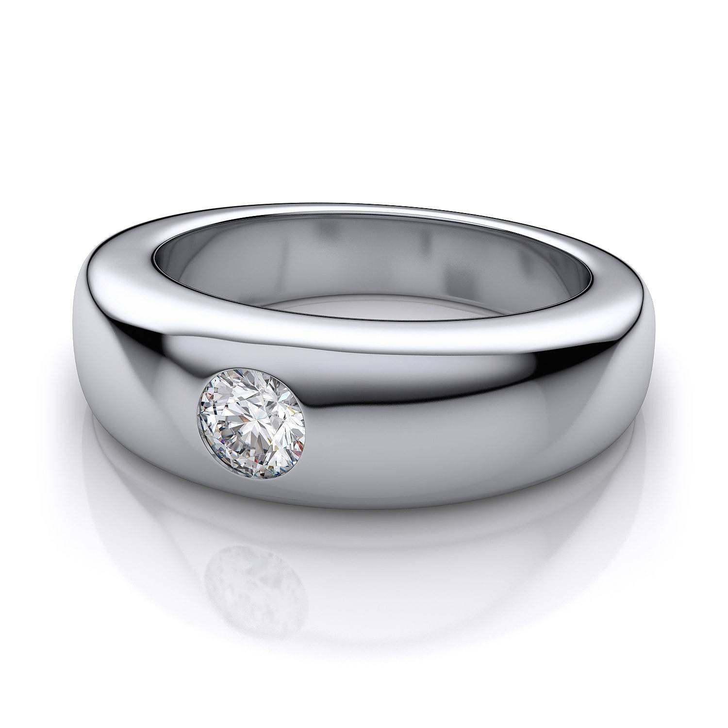 1/2 Ct Men's Dome Burnished Diamond Band In 18K White Gold For Most Recently Released Flush Set Diamond Wedding Bands (View 1 of 15)