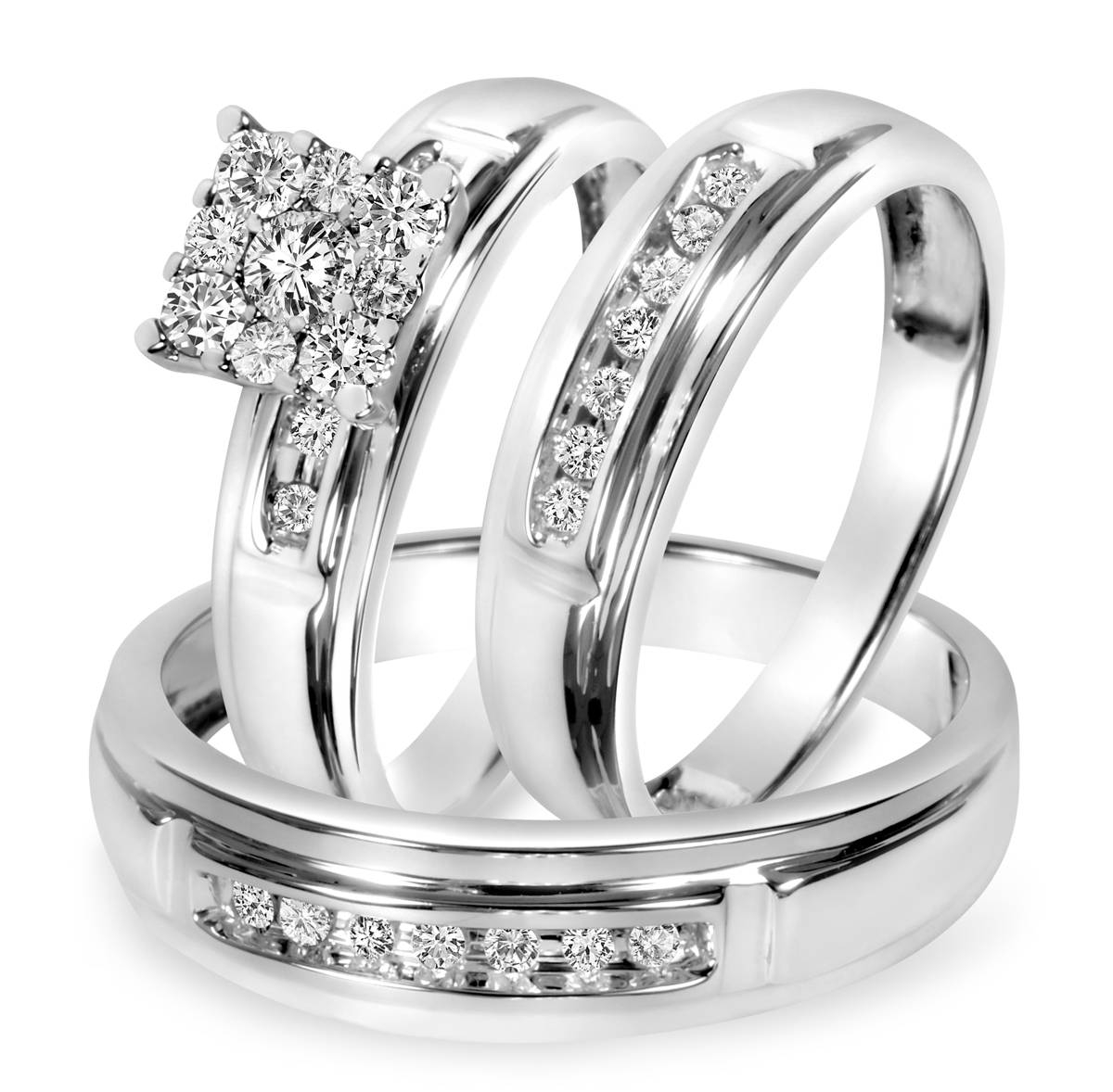 1/2 Ct. T.w. Diamond Trio Matching Wedding Ring Set 14K White Gold Within Newest Gold And White Gold Wedding Bands (Gallery 3 of 15)