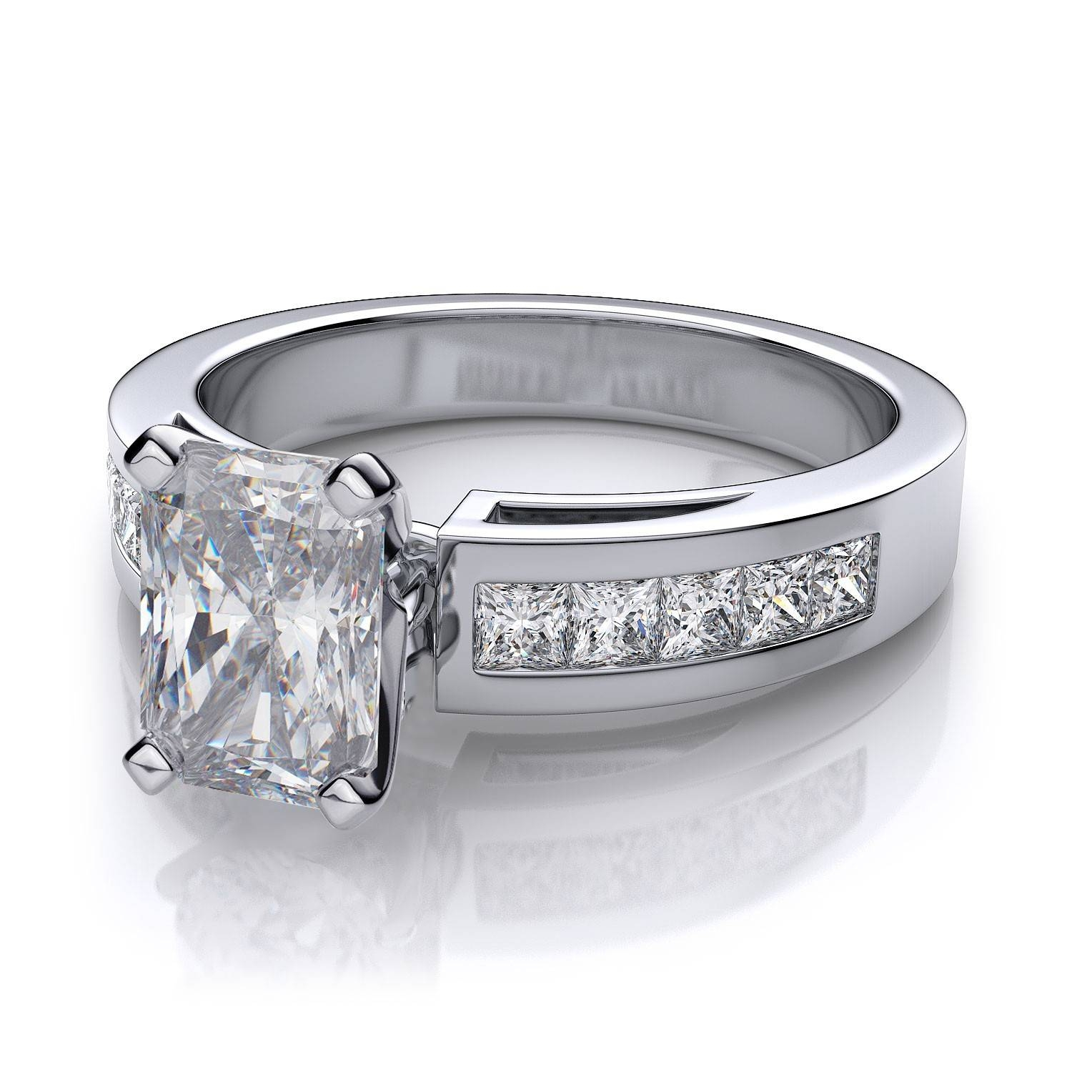 1/2 Ctw Cathedral Channel Set Radiant Cut Diamond Engagement Ring For Radiant Cut Engagement Ring Settings (View 1 of 15)
