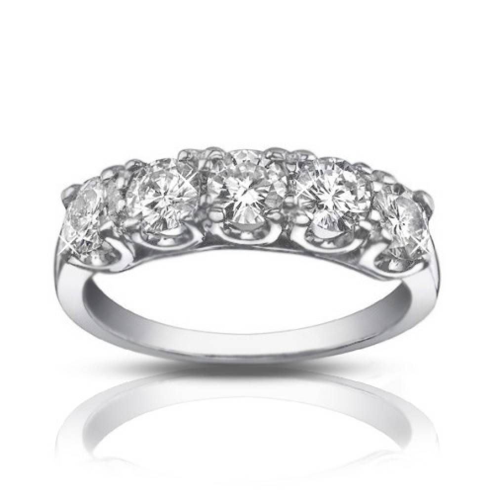 1.25 Ct Five Stone Round Cut Diamond Wedding Band Ring Inside Most Popular Five Diamond Wedding Bands (Gallery 11 of 15)