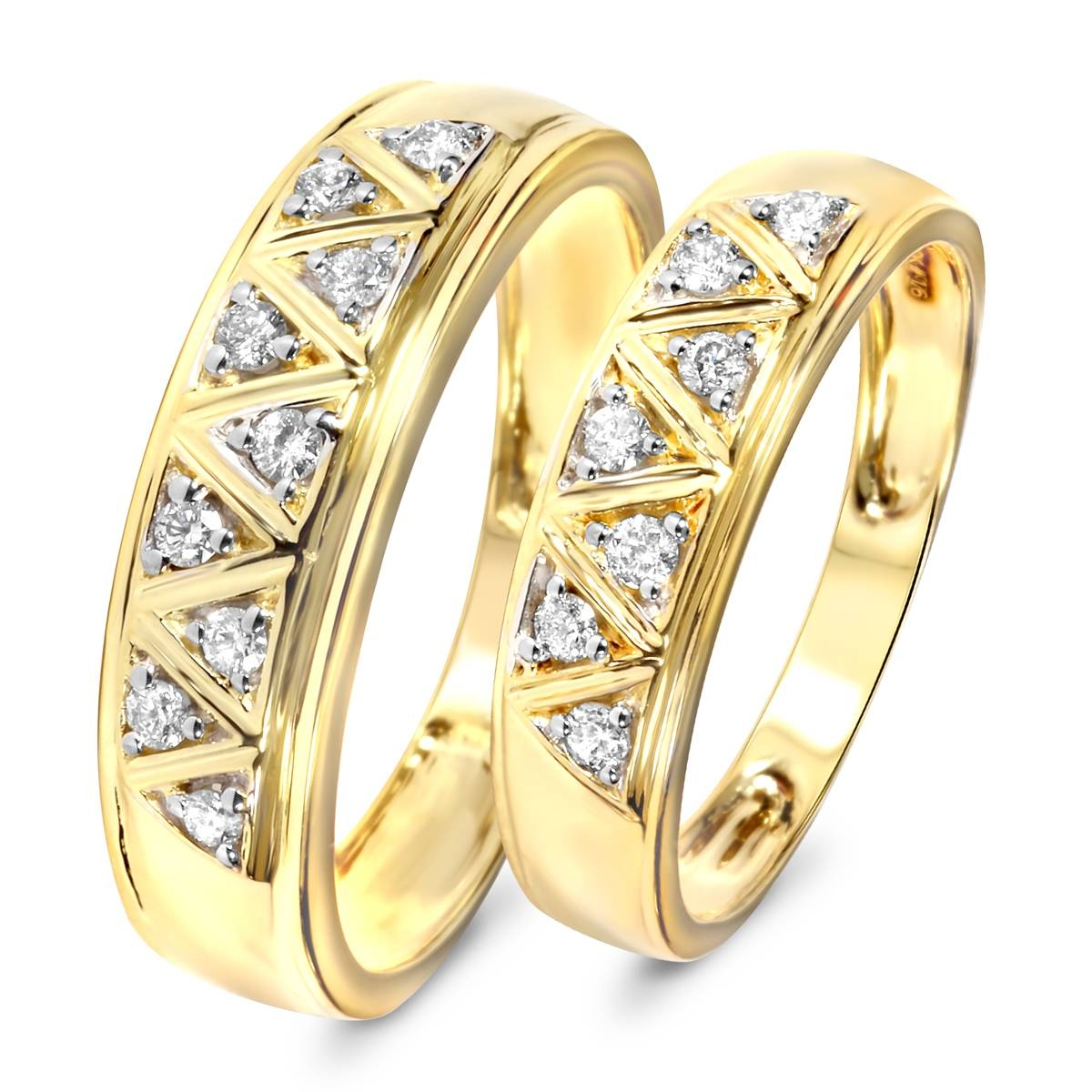 1/3 Carat T.w. Diamond His And Hers Wedding Band Set 10K Yellow Gold Within Most Recently Released Yellow Gold Wedding Band Sets (Gallery 2 of 15)