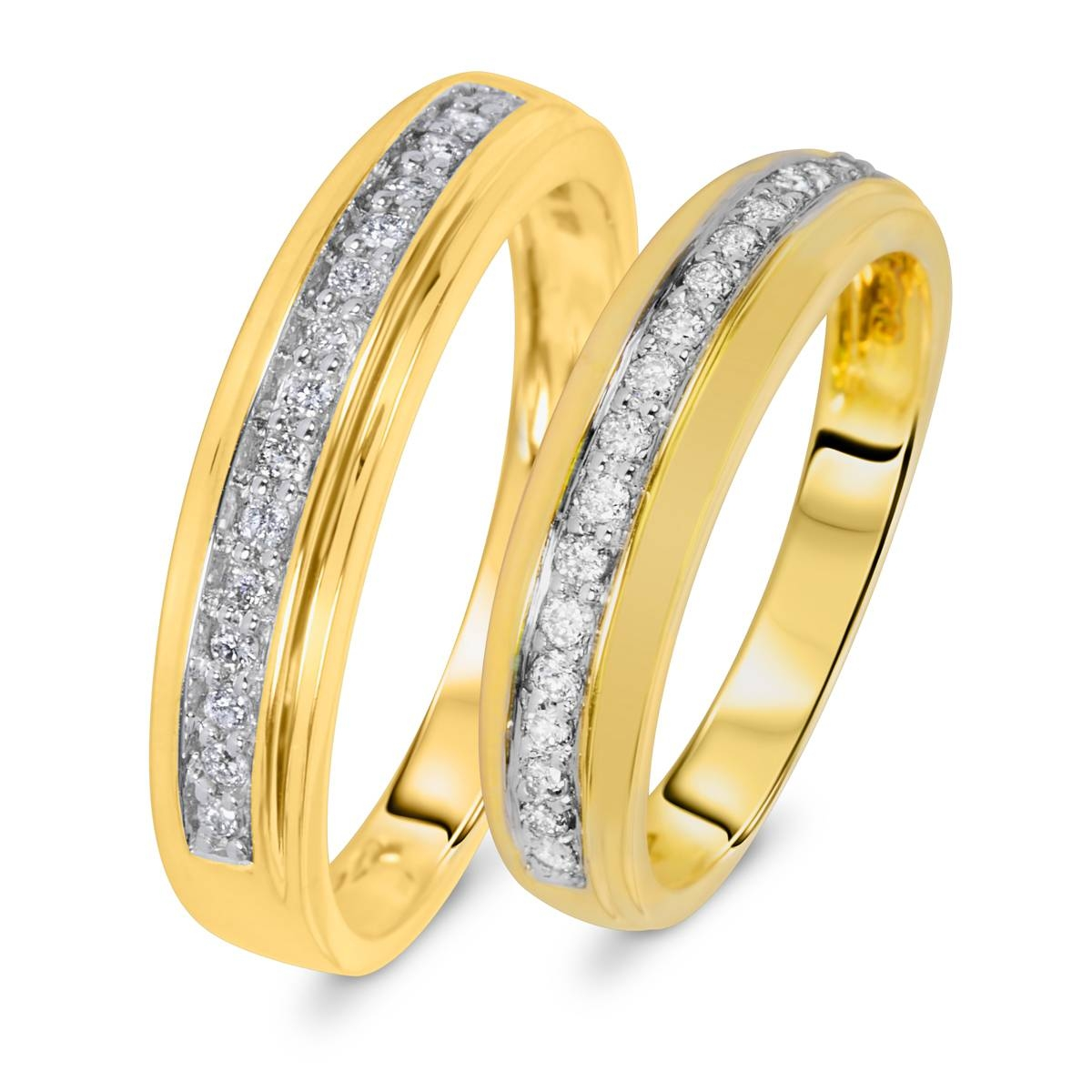 1/3 Carat T.w. Diamond Matching Wedding Rings Set 10K Yellow Gold For Most Up To Date Yellow Gold Wedding Band Sets (Gallery 7 of 15)