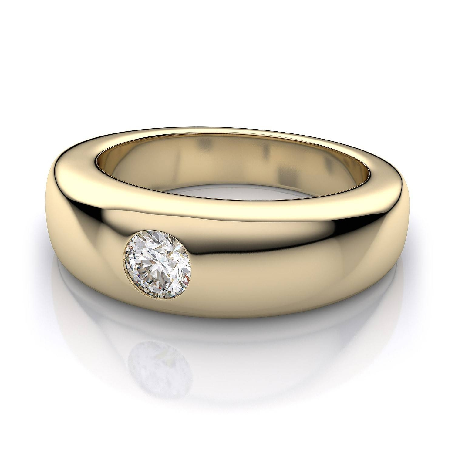 1/3 Ctw Men's Flush Set Diamond Band In 18K Yellow Gold Intended For Flush Setting Engagement Rings (View 1 of 15)