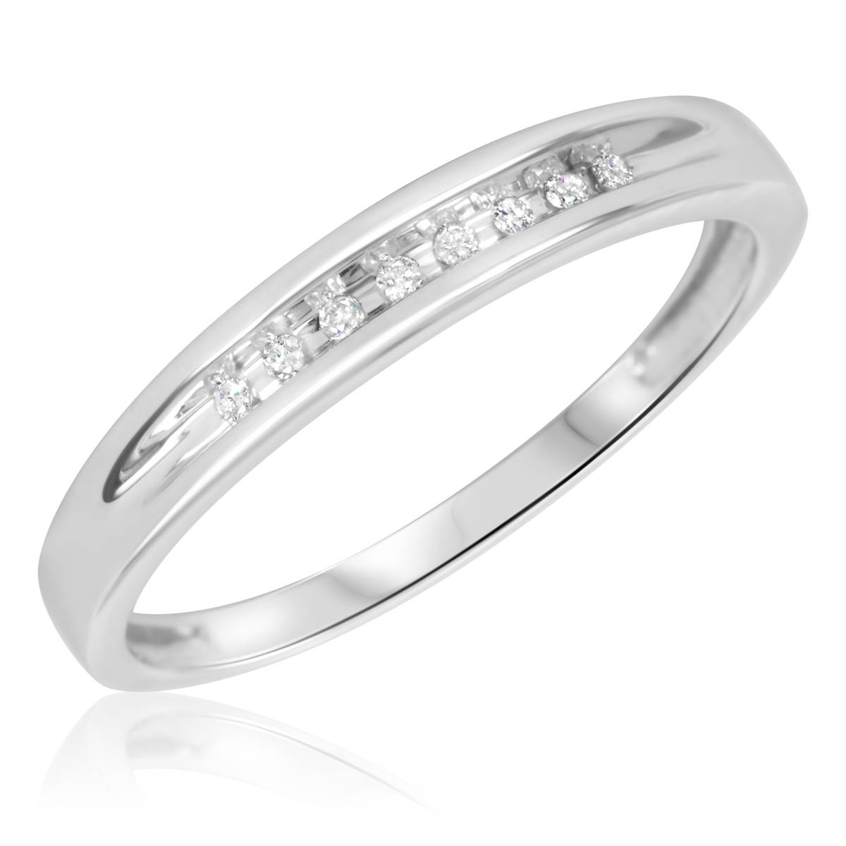 1/4 Ct. T.w. Diamond Trio Matching Wedding Ring Set 10K White Gold Throughout Ladies White Gold Diamond Wedding Bands (Gallery 9 of 15)