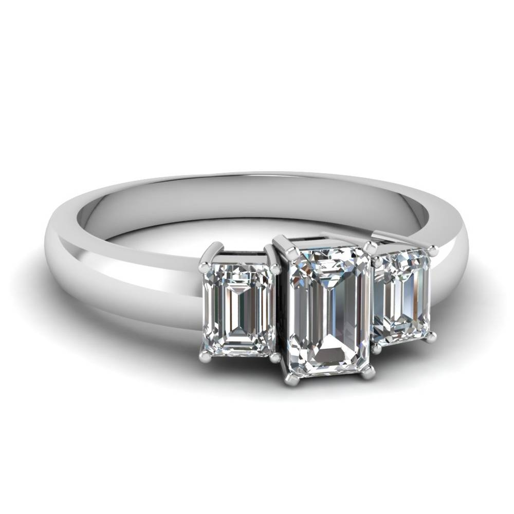 1.5 Carat 3 Stone Emerald Cut Diamond Engagement Ring In 14K White For 3 Stone Emerald Cut Diamond Engagement Rings (Gallery 1 of 15)