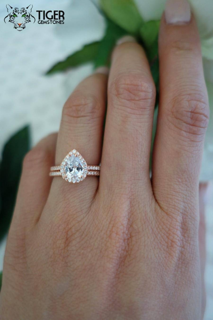 1.5 Carat Pear Cut Halo Engagement Ring & Wedding Band, Flawless In 2017 Silver Engagement Rings With Gold Wedding Bands (Gallery 2 of 15)