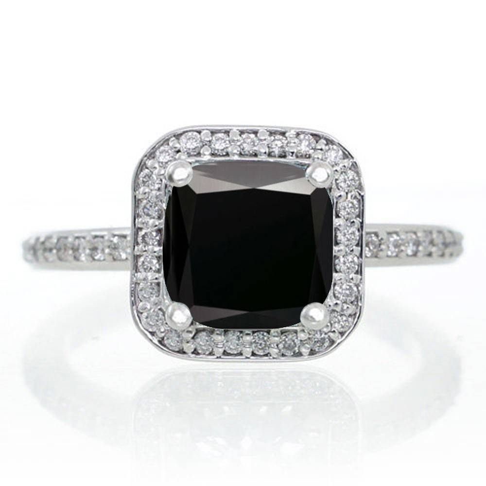 1.5 Carat Princess Cut Black Diamond Classic Halo Engagement Ring In Black And White Princess Cut Diamond Engagement Rings (Gallery 10 of 15)