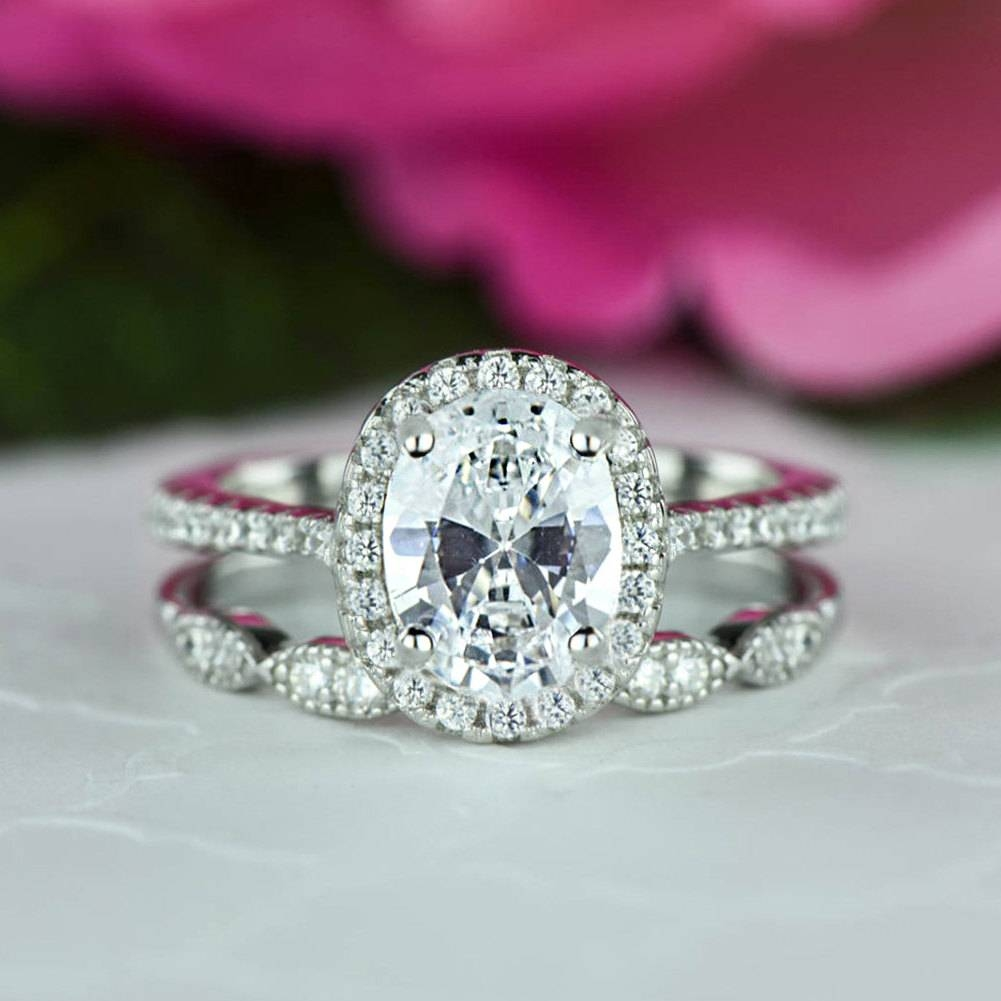 1.5 Ctw Oval Halo Wedding Set Vintage Style Bridal Rings Man Inside Oval Halo Wedding Ring Sets (Gallery 15 of 15)