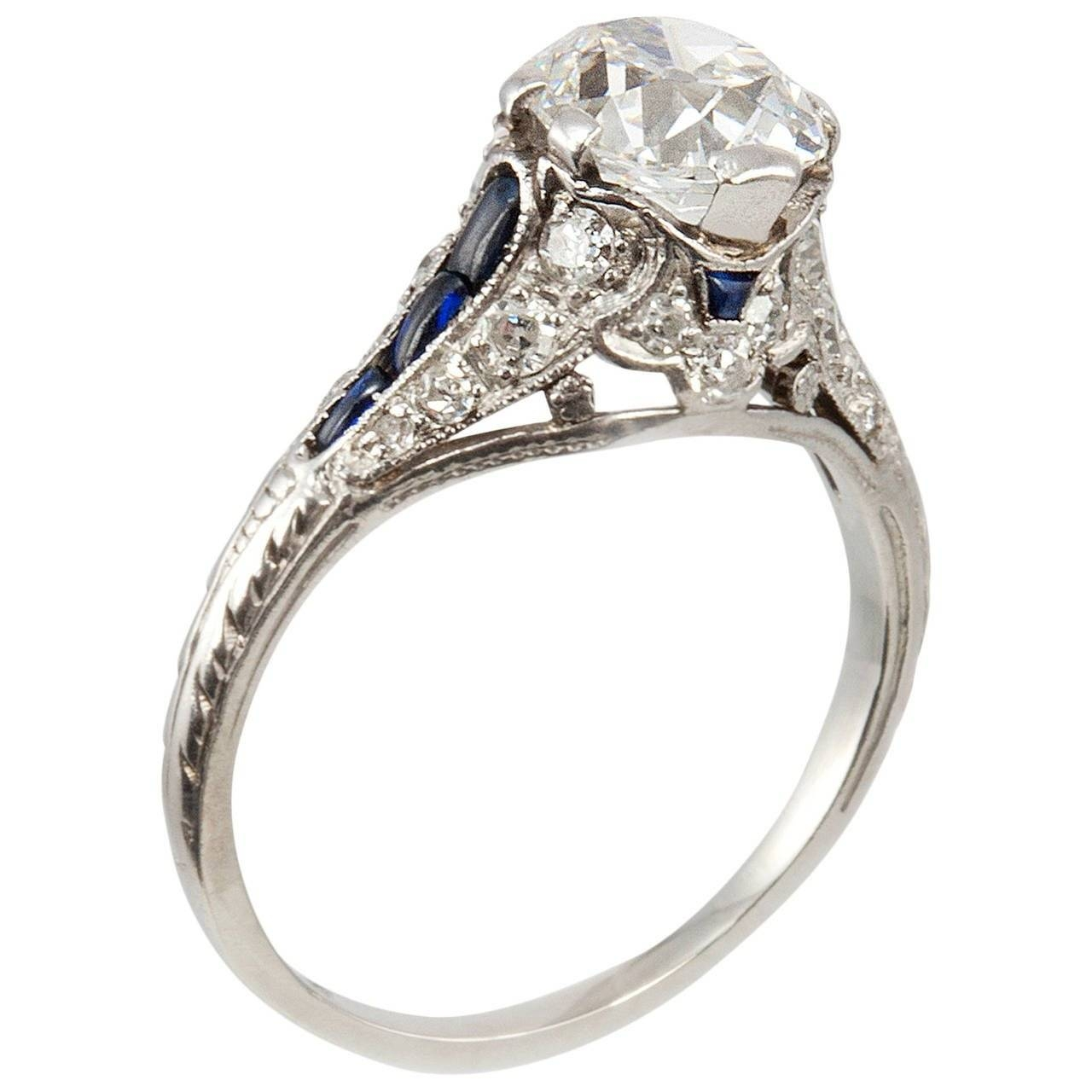 1.57 Carat Cushion Cut Diamond Sapphire Platinum Antique Inside Platinum Diamond And Sapphire Engagement Rings (Gallery 2 of 15)