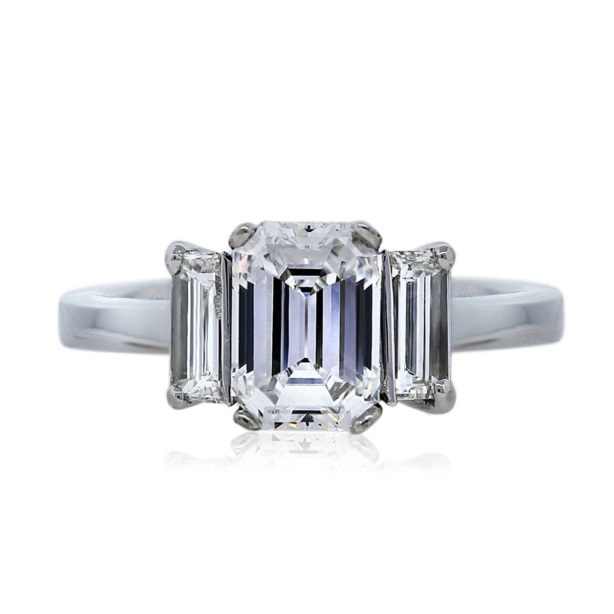 1.59 Carat Emerald Cut Three Stone Diamond Engagement Ring Boca Raton With Regard To Baguette Cut Diamond Engagement Rings (Gallery 4 of 15)