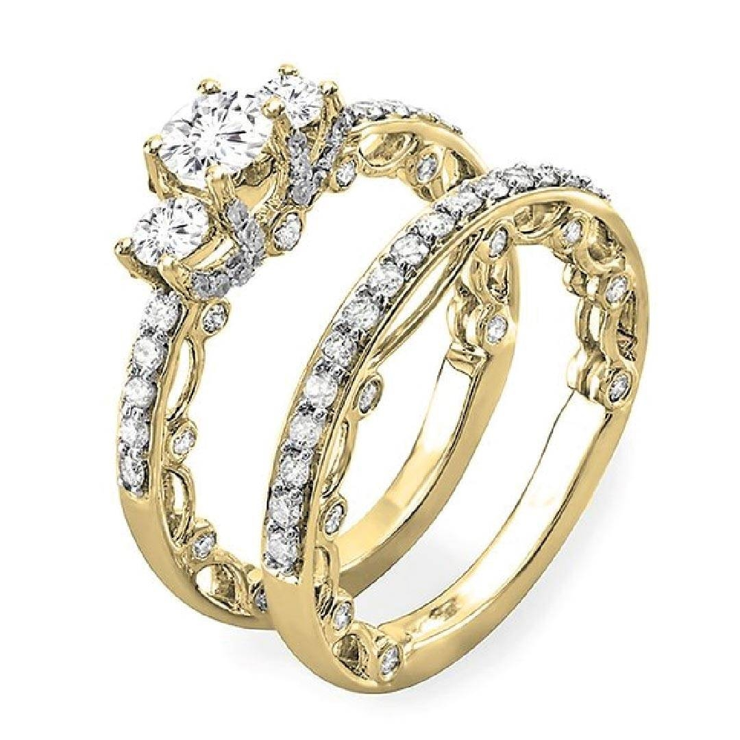 1.65 Carat (Ctw) 14K Gold Round Diamond Ladies Vintage Bridal Ring For Yellow Diamond Wedding Sets (Gallery 9 of 15)