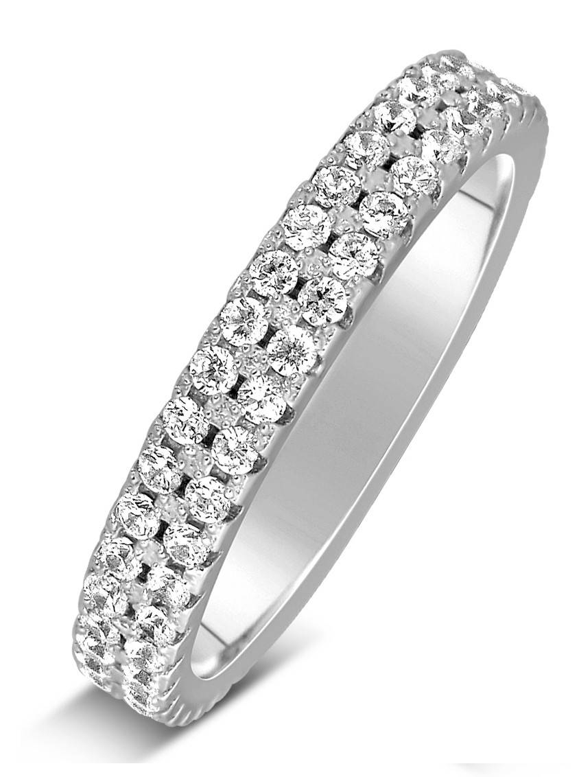 1 Carat 2 Row Diamond Wedding Ring Band In White Gold For Women With Regard To White Gold Diamond Wedding Bands For Women (View 1 of 15)