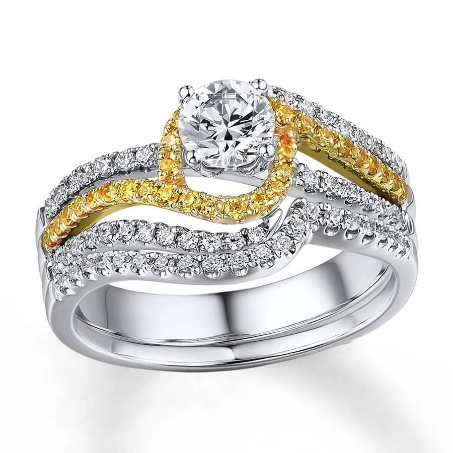 1 Carat Beautiful White And Yellow Diamond Wedding Ring Set Within Wedding Bands With Yellow Diamonds (Gallery 6 of 15)