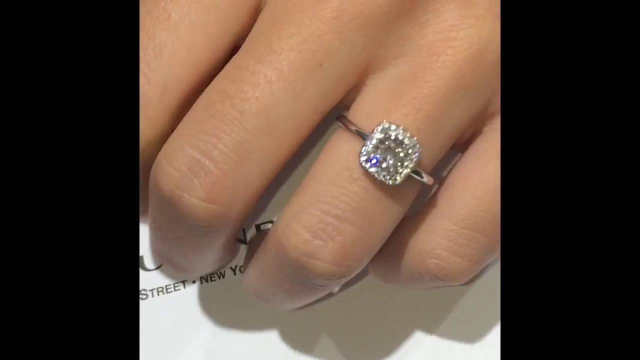 1 Carat Cushion Cut Diamond Engagement Ring – Youtube Regarding 1 Ct Wedding Rings (View 9 of 15)