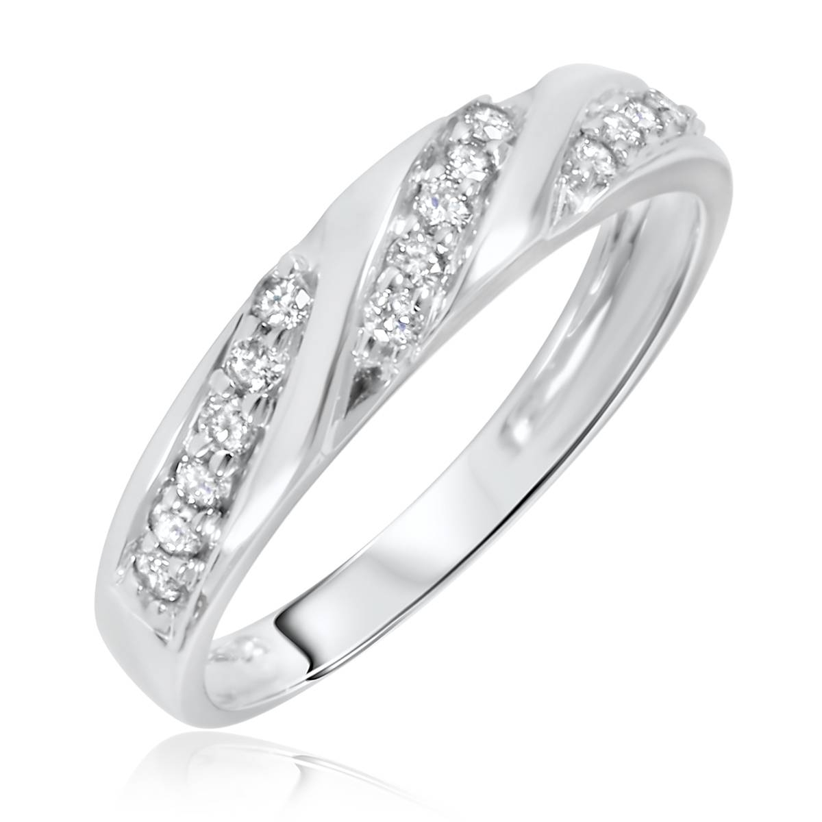 1 Carat Diamond Trio Wedding Ring Set 10K White Gold With White Gold Wedding Bands For Women (View 1 of 15)
