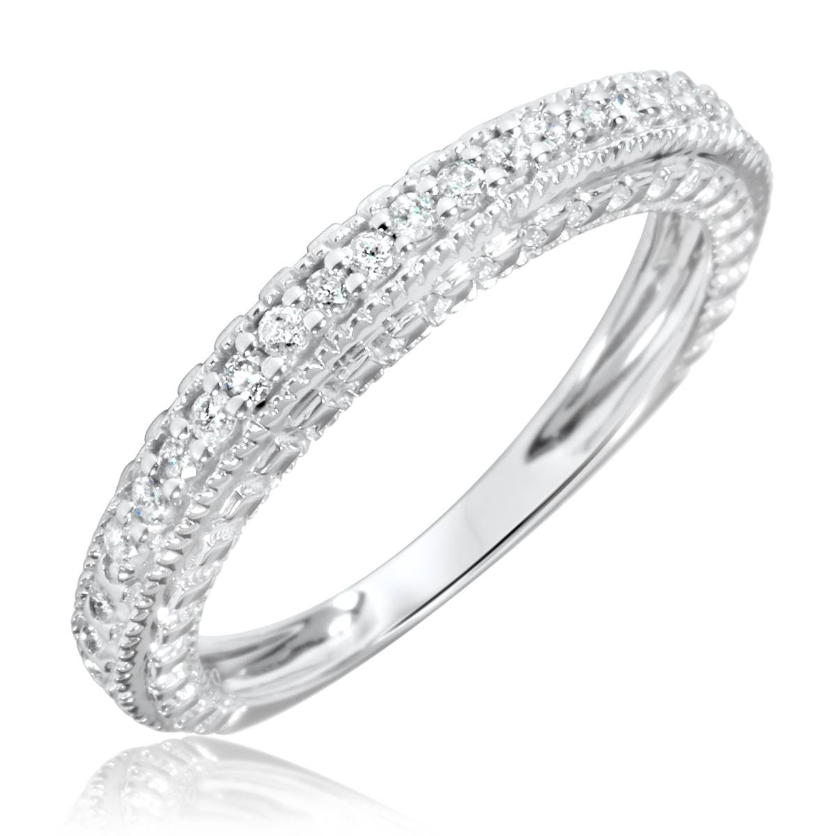 1 Carat Diamond Trio Wedding Ring Set 14K White Gold Pertaining To White Gold Wedding Bands For Women (View 2 of 15)