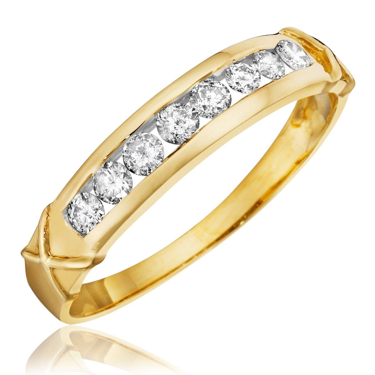 1 Carat Diamond Trio Wedding Ring Set 14K Yellow Gold With Regard To Wedding Bands With Yellow Diamonds (View 2 of 15)