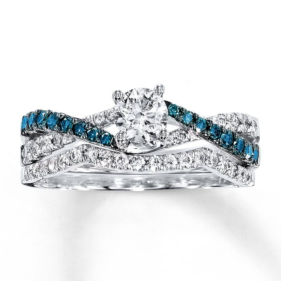 1 Carat Luxurious Round White And Blue Diamond Bridal Ring Set Pertaining To Colored Diamond Wedding Bands (Gallery 4 of 15)