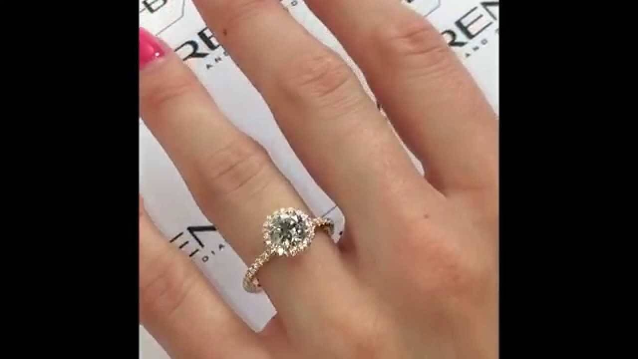 1 Carat Round Halo Engagement Ring In Rose Gold – Youtube Intended For 1 Ct Wedding Rings (View 3 of 15)