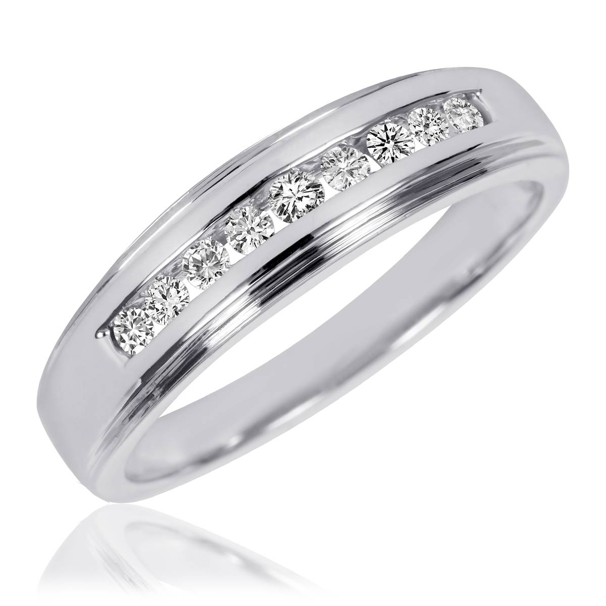 1 Carat T.w. Diamond Trio Matching Wedding Ring Set 10K White Gold Pertaining To Mens White Gold Wedding Bands With Diamonds (Gallery 3 of 15)