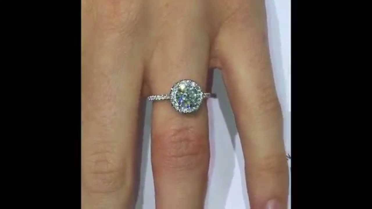 1 Ct Round Diamond Halo Engagement Ring – Youtube Intended For 1 Ct Wedding Rings (View 12 of 15)