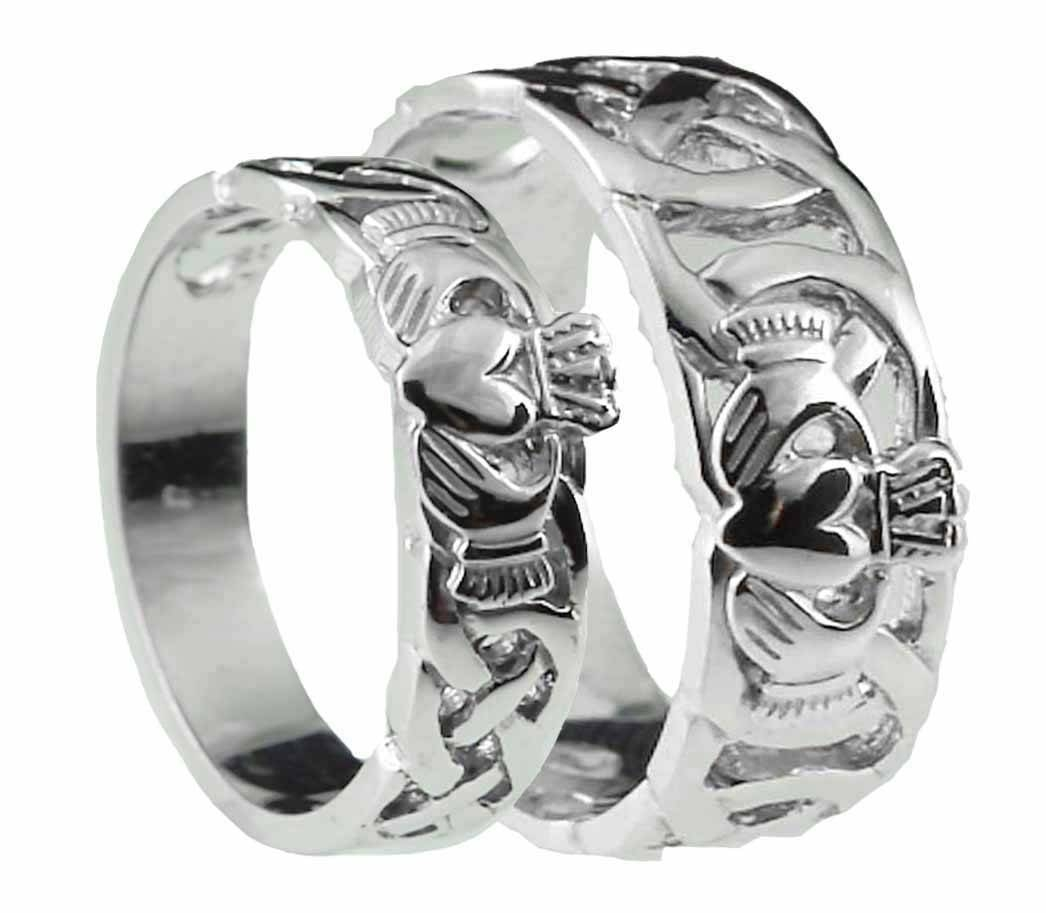 10K/14K/18K White Gold Celtic Claddagh Wedding Band Ring Set With Mens White Gold Claddagh Wedding Bands (View 1 of 15)
