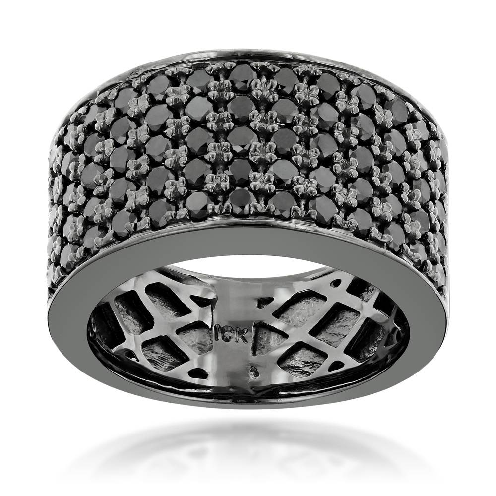 10k Gold Black Diamond Wedding Band For Men 1.67ct Luxurman Ring Regarding Black Gold Wedding Bands For Men (Gallery 14 of 15)