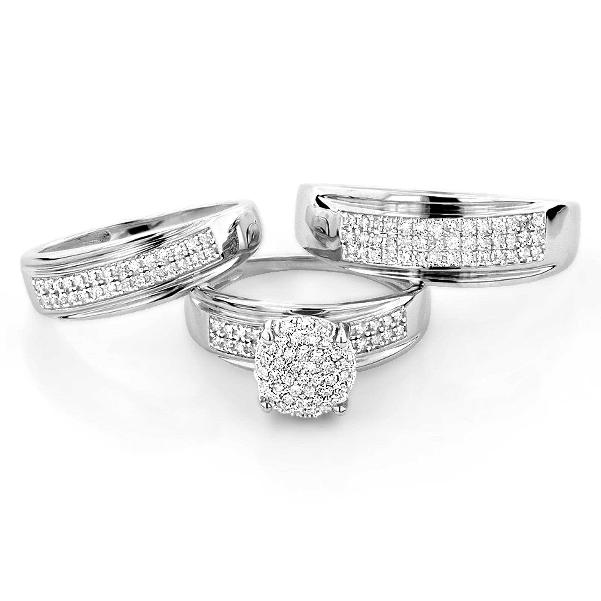 10K Gold Engagement Trio Diamond His And Hers Wedding Ring Set 0.95Ct In White Gold Wedding Bands Sets (Gallery 14 of 15)