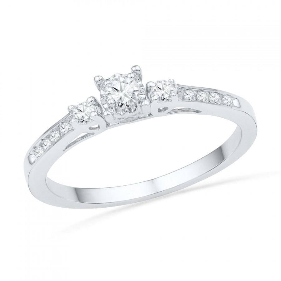 10K White Gold Diamond Engagement Ring, Three Stone Diamond Ring In Silver Diamond Wedding Rings (View 1 of 15)