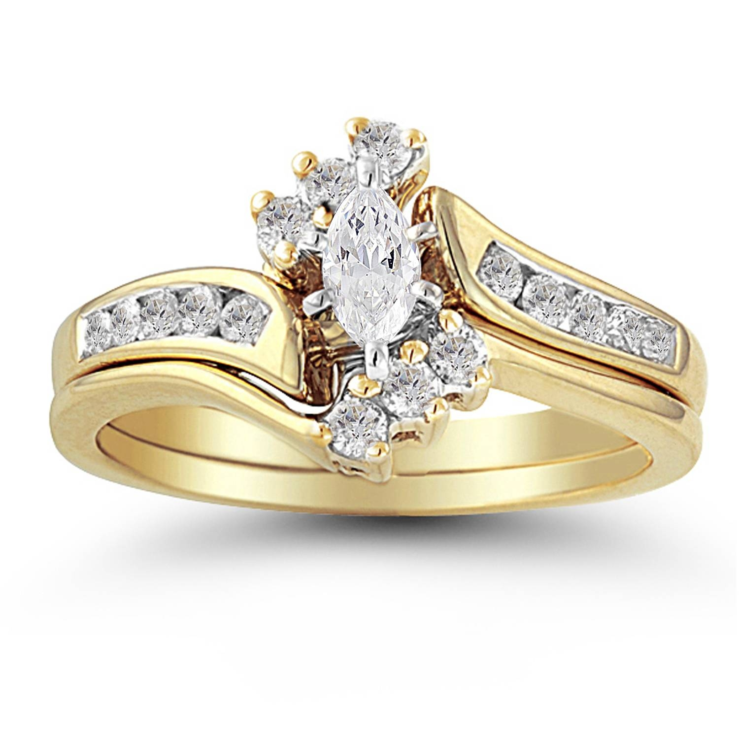 10K Yellow Gold .38 Ctw Diamond Marquise Halo Top Wedding Set In Yellow Diamond Wedding Sets (Gallery 11 of 15)