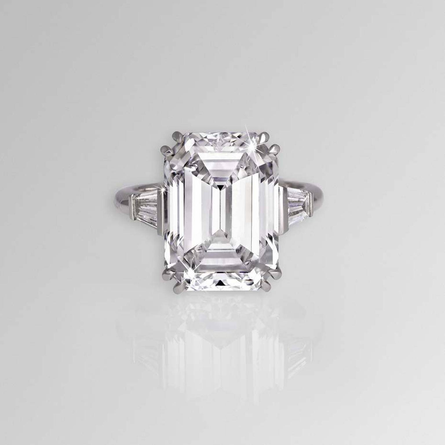 11.04Ct Emerald Cut Diamond Engagement Ring | David Morris | The Within Emerald Cut Engagement Rings Baguettes (Gallery 2 of 15)