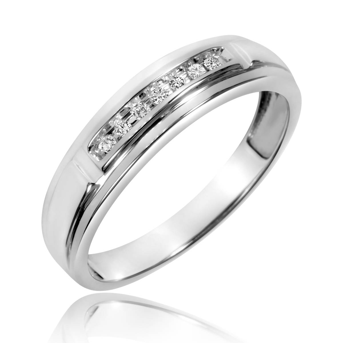 1/15 Carat T.w. Diamond Men's Wedding Band 10K White Gold Throughout Mens White Gold Wedding Bands With Diamonds (Gallery 2 of 15)