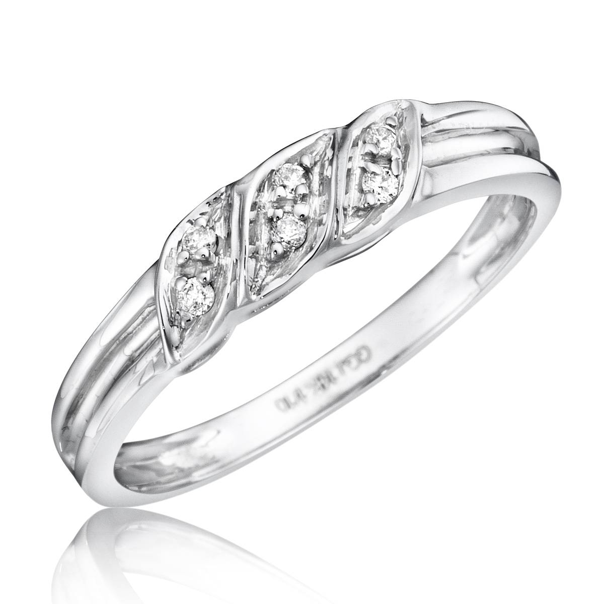 1/15 Carat T.w. Diamond Women's Wedding Ring 10K White Gold Regarding Womens White Gold Wedding Bands (Gallery 9 of 15)