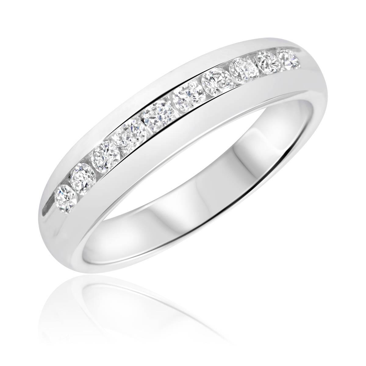 1/2 Carat T.w. Diamond Men's Wedding Ring 14K White Gold With Regard To 14 Carat Gold Wedding Bands (Gallery 2 of 15)