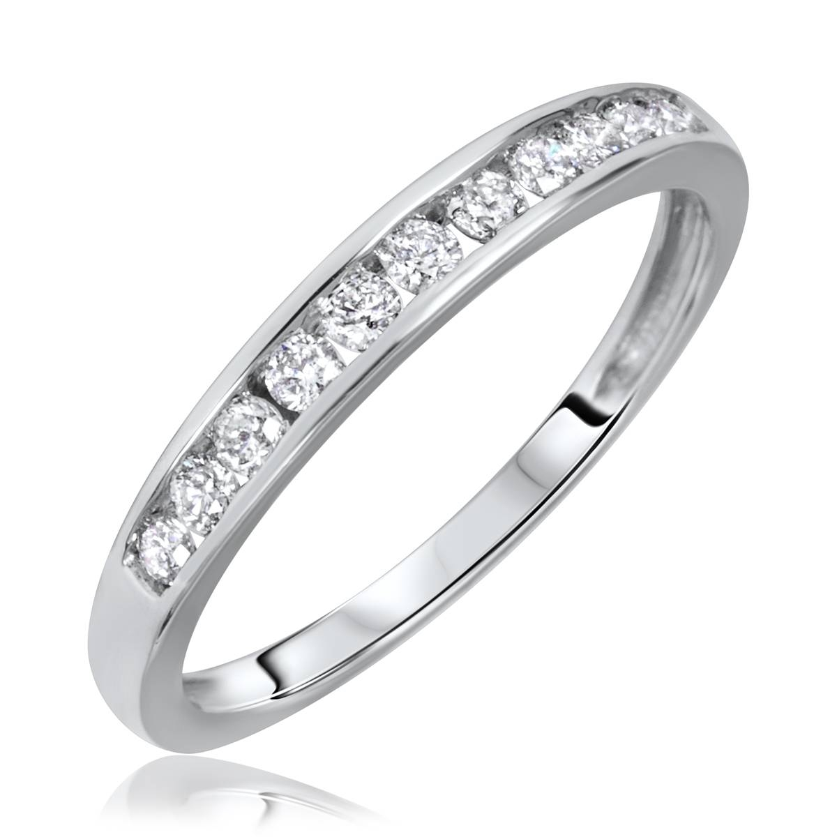1/2 Carat T.w. Round Cut Diamond His And Hers Wedding Band Set 14K Pertaining To 1 Carat Wedding Bands (Gallery 15 of 15)
