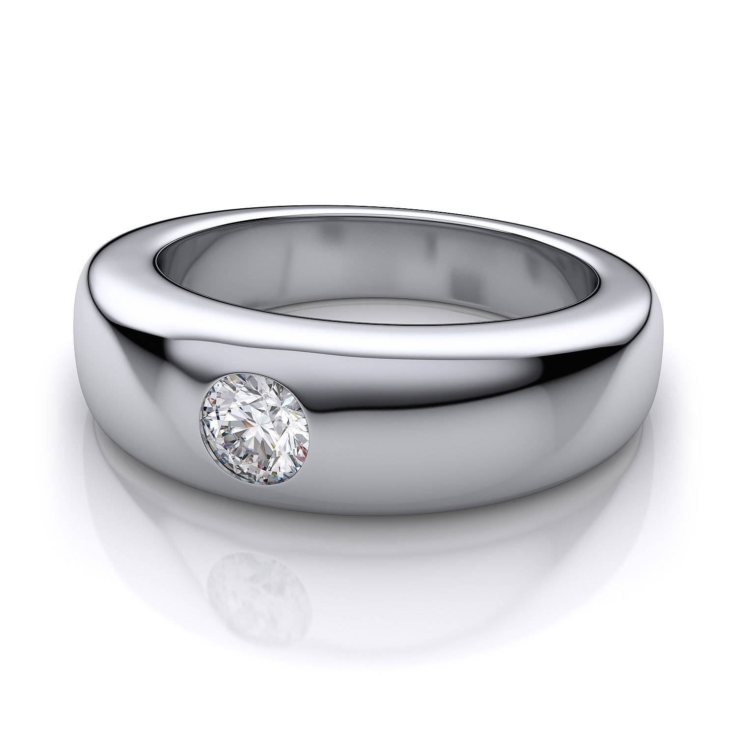 1/2 Ct Men's Dome Burnished Diamond Band In 18k White Gold Within Mens White Gold Wedding Bands With Diamonds (View 8 of 15)