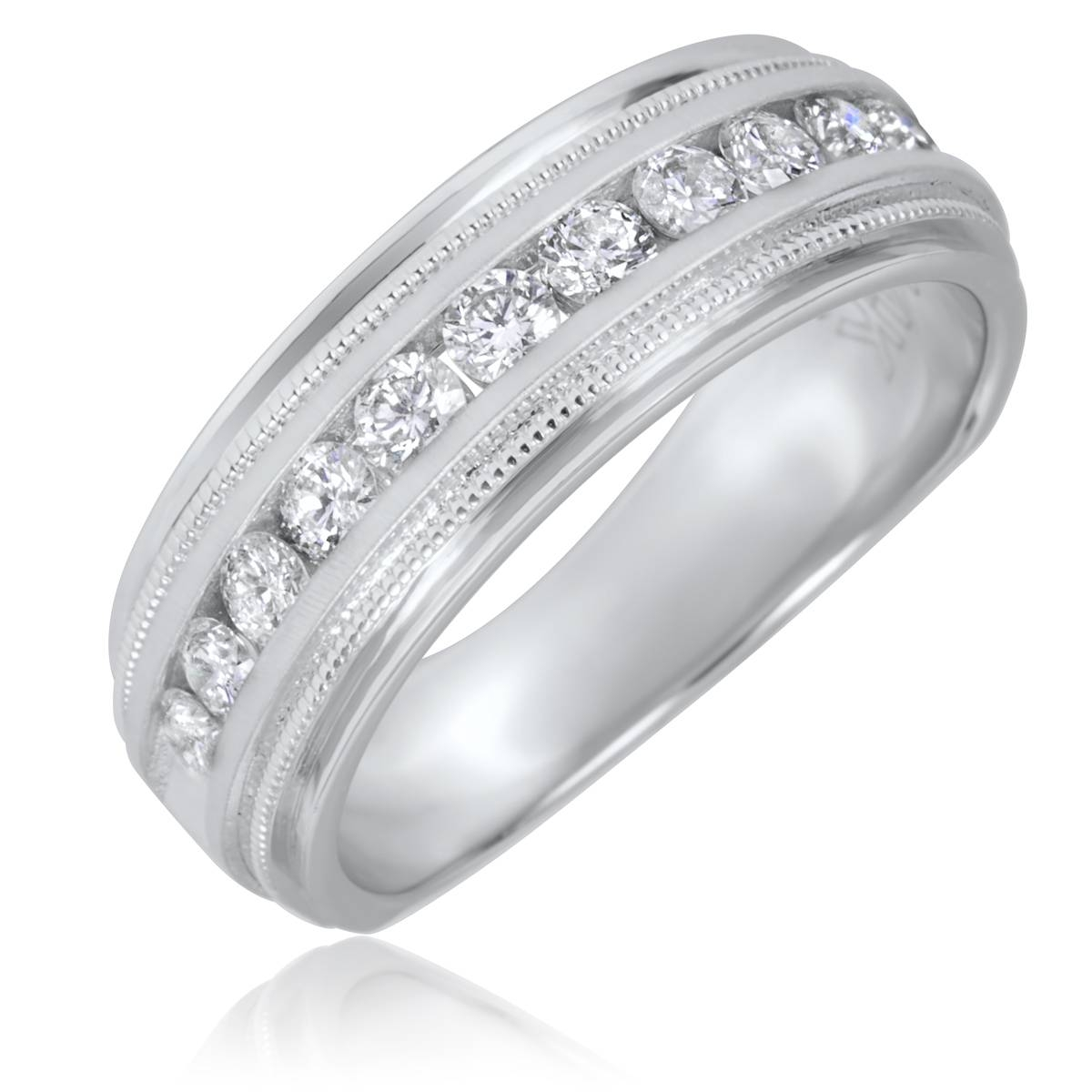 Featured Photo of Mens White Gold Wedding Bands With Diamonds