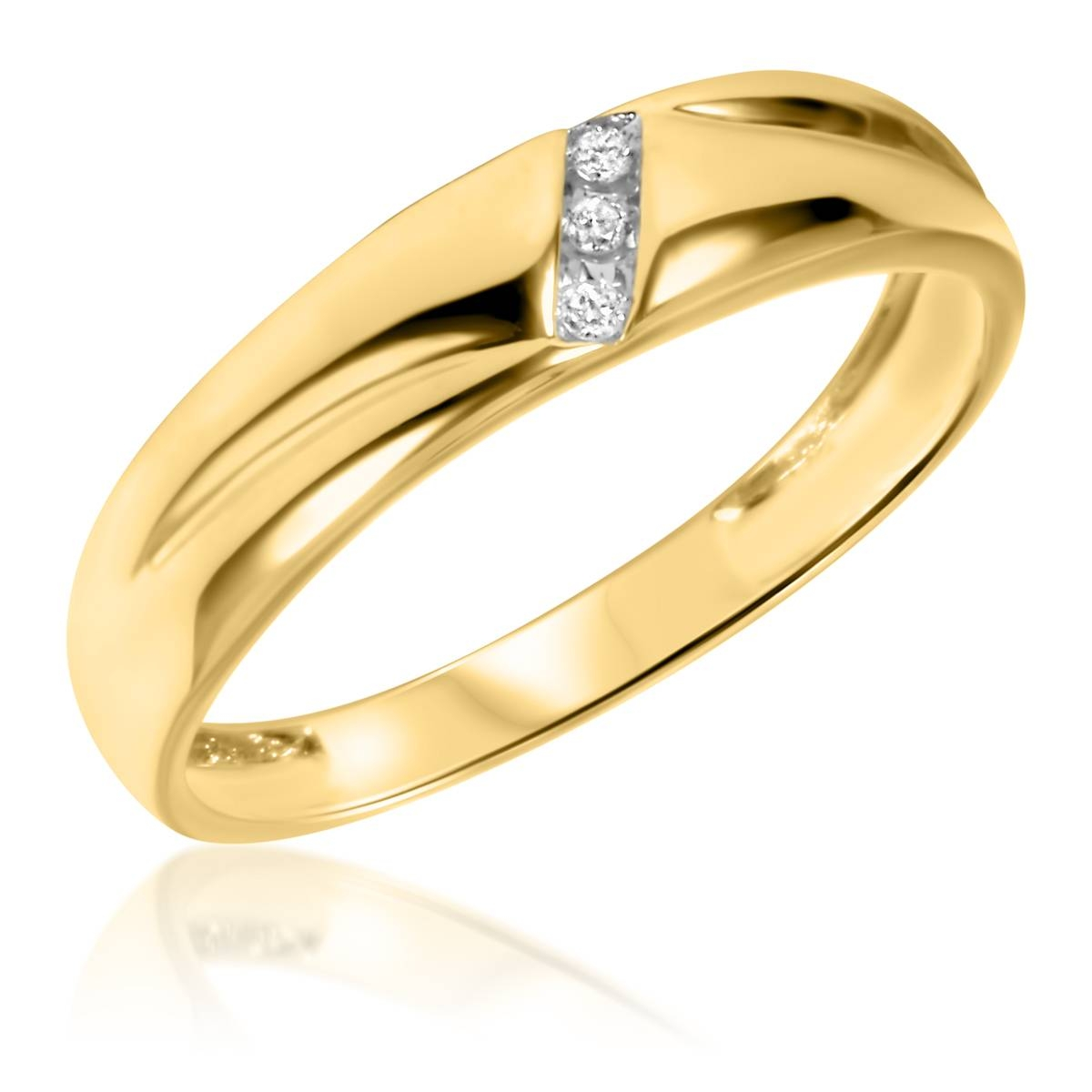 1/20 Ct. T.w. Diamond Men's Wedding Band 10K Yellow Gold Pertaining To Gold Men Wedding Rings (Gallery 11 of 15)